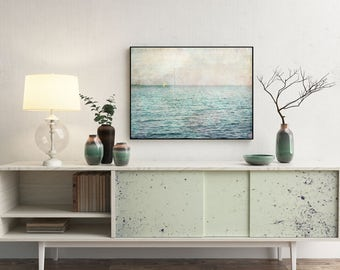 Sea landscape, Fine art photography, Pastel poster A3, Pale pink aqua blue picture, Printable photography, Baltic sea, Living room decor