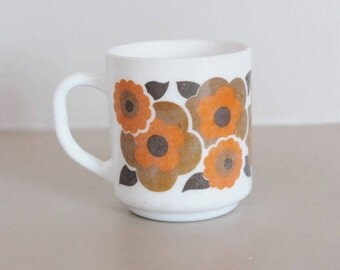 Vintage Arcopal mug, arcopal mug, orange flower mug, vintage arcopal, vintage dishware