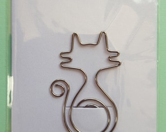 Cute Cat Shaped Silver Paper Clip, Stationery, Planners