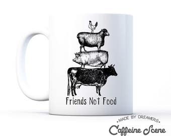 Vegan Mug Gift Idea Friends Not Food Vegetarian Herbivore Animal Rescue Right Equality