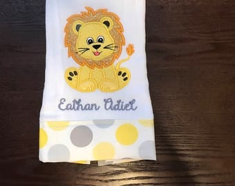 Personalized Embroidered baby lion Burp Cloth, baby shower gift, burp rag, diaper, yellow and gray burp cloth.