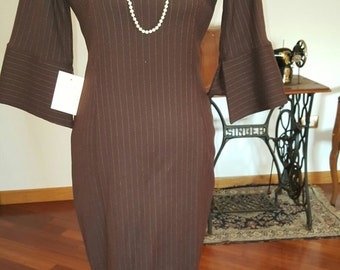 Beautiful Pinstriped Brown wool dress