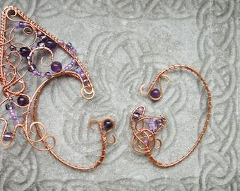 """Elf ear cuffs """"Butterfly"""", Elven cuffs, A pair of cuffs, Elf ear cuffs, Wire wrapped ear cuffs, Elven ears, Wire ear cuffs, Copper ear cuffs"""