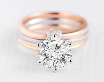 Moissanite Engagement Ring Wedding Ring Set Forever One Bridal Set Cage Rose Gold White Gold Yellow Gold Unique Stacking Eternity Band Women
