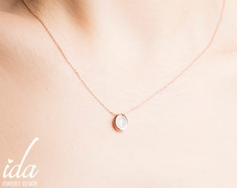 Rose Gold Moonstone Necklace - Moonstone Jewelry - Dainty Necklace - Gemstone Necklace - Minimalist Necklace - Rainbow Moonstone Necklace