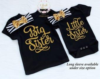 Big Sister Shirt, Matching Sister Outfits, Big Sister Outfit, Big Sister Little Sister Outfits, Little Sister Outfit, Sibling Outfits, FS31