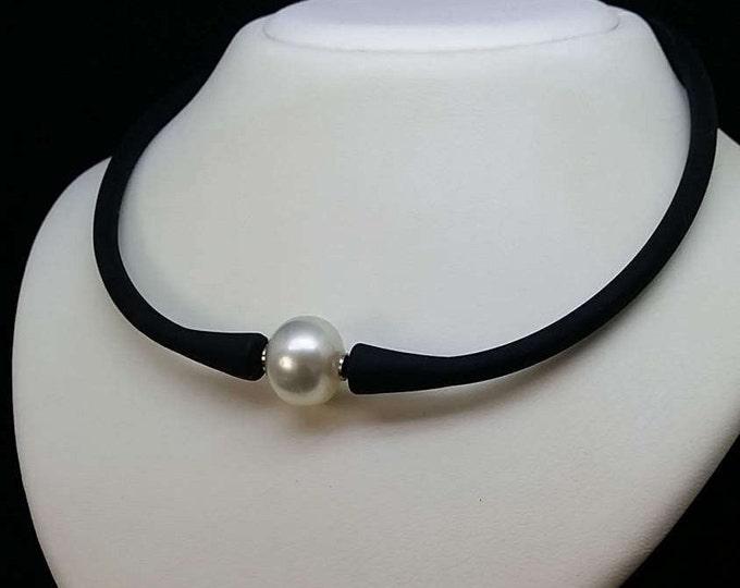 Australian south sea pearl & neoprene necklace