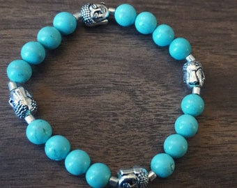 Teal & Silver Buddha Bracelet