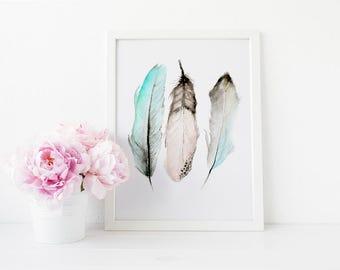 Boho watercolor feathers, Nursery Feather Art, Watercolor Feather, Nursery Wall Art, Office decor, Watercolors  Print, Feather Art, boho art
