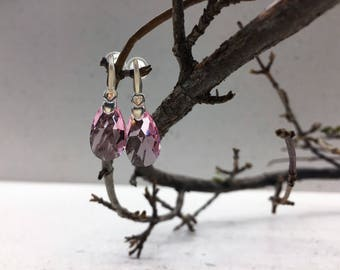 Sterling silver handmade earrings with pink crystals