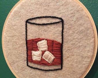"""Whiskey   5"""" Hand Embroidered Hoop   Bar Decor"""