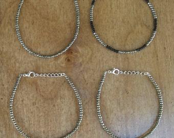 Gunmetal Silver single layer seed bead bracelet