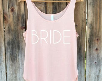Bride Tanktop, Bride Shirt, Wedding Tank Top, Bridal Party Top - Side Slit Tank Top