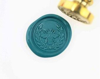 Bee wreath wax seal stamp/ wax sealing kit /Custom wedding seals/wedding invitation seal/Bee queen/SS139