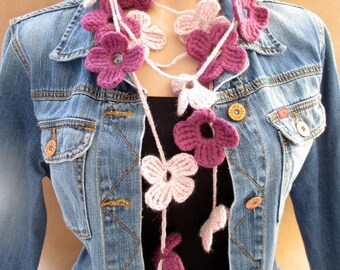 Lariat scarf, Crochet lariat necklace, Flower scarf, Crochet flower scarf, Crochet scarf, Burgundy scarf, Pink scarf, Flower necklace