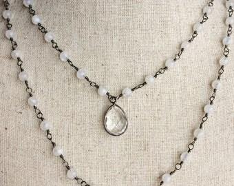 Moonstone Necklace, Quartz Necklace, Oxidized Sterling Silver Necklace