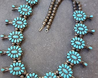 Reserved for Robin. Squash Blossom Necklace. Stunning! 167 grams, possibly Castle Dome turquoise