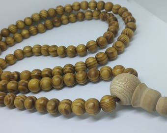 APPLE TREE: 108 wood mala with big stupa bead