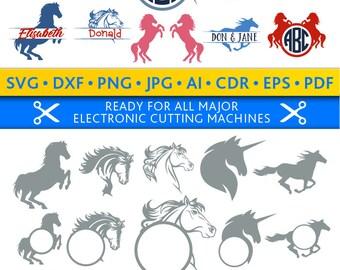 Horse Svg Horse Monogram Frames Svg Horse Frames Svg Horses Svg Cut Files Silhouette Studio Cricut Svg Dxf Jpg Png Eps Pdf Ai Cdr