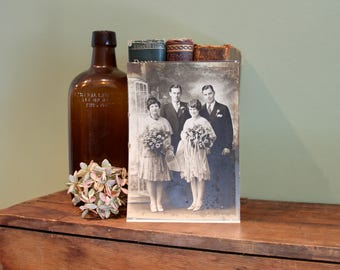 Old Wedding Couple Photo. Collectible Photo, Scrapbooking Art Supply, Antique Photo Collection, Prop, Couple, Flowers, Couples