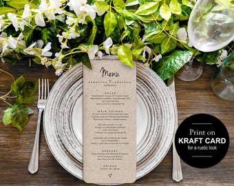 Printable wedding menu, Rustic wedding menu template, wedding menu cards, dinner menu, editable menu, Instant download PDF