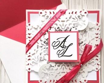 Handmade Wedding Invitation, Paperlace Wedding Invitation, Personalized