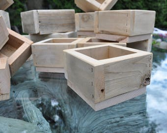 Box, Rustic Wooden Box, Small With Base Reclaimed Wood Succulent Planter Wood Box