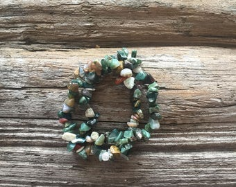 Pair of Forest Green Beaded Bracelets, Elastic, Glass Unique Shaped Beads