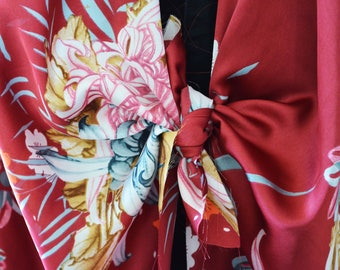 Silky Flower Kimono, Tie Up with Rolled Hem, Long
