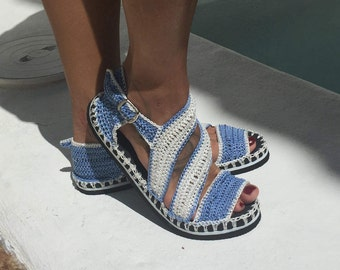 crochet sandals with two-tone rubber sole