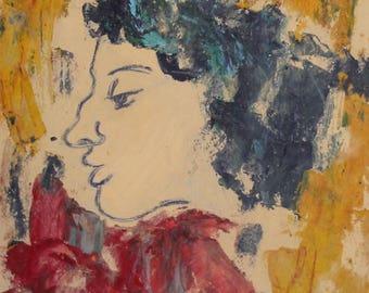 Vintage expressionist woman portrait gouache painting signed