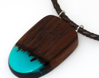 Resin Wood Necklace Wood Pendant on Leather Cord Handmade Necklace Exotic Wood Pendant Resin Jewellery Wood Jewellery  Summer Jewelry