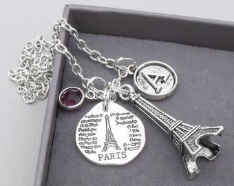 Paris Eiffel tower vintage initial necklace | paris charm necklace | eiffel tower pendant | personalised parisnecklace | paris jewelry