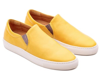 Sneakers Canvas, Handcrafted Sneakers, Personalised Sneaker, Handmade Women Shoes, Slip Ons Shoes, Colorful Shoes Women, Yellow Leather