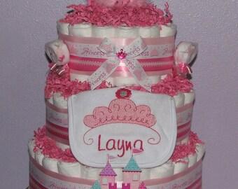 Princess Diaper Cake, Embroidered Diaper Cake, Diaper Cake for Girls