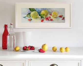 Original Watercolor Painting. Still life with Lemons and Strawberries. Wall art. Home Decor. Kitchen Decor.