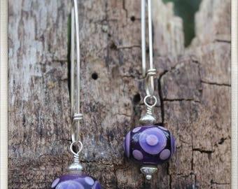 Polka dots, purple dots lampwork beads and sterling earrings