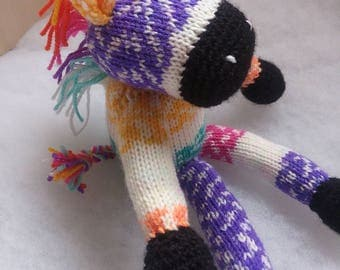 Rainbow Zebra Nr.3 - Knitted Soft Toy