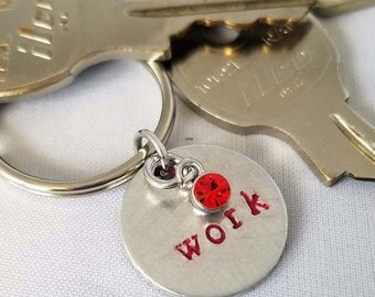 """Hand stamped """"Work"""" custom metal key chain with charm, custom key chain, colored key chain with charm, charmed metal stamped key ring, work"""