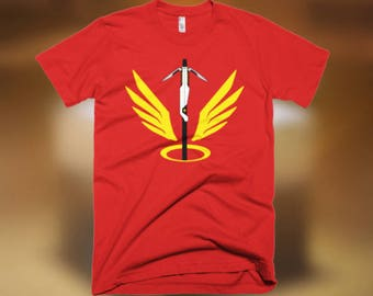 "Mercy Overwatch T-Shirt ""Heroes Never Die!"""