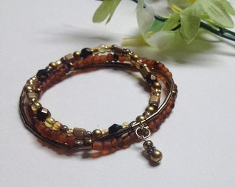 Brown, Gold and Bronze Stack Boho Bracelet