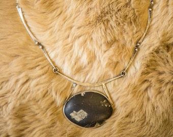 Stone Pendant Silver Necklace