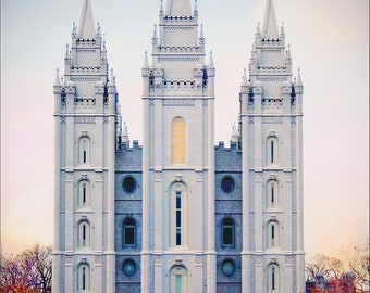 Salt Lake Temple - Pastel Sky