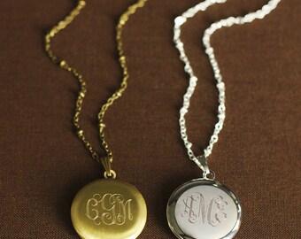 Set of 9 Monogrammed Bridesmaid Gift - Personalized Engraved Locket - Monogrammed Bridesmaid Necklaces