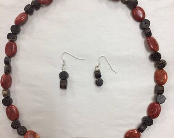 Bold Red-Orange and Wood-Look Beaded Necklace and Earring Set
