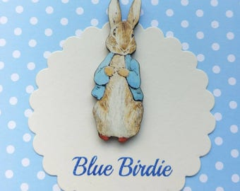 Peter rabbit brooch Beatrix Potter jewelry badge wooden Peter rabbit badge Peter rabbit jewellery vintage book gifts