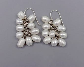 """1.5"""" Fresh Water Pearls Cluster Earrings"""