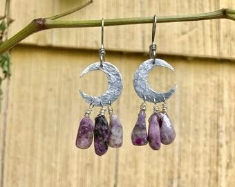 moon earrings, Crescent moon gemstone earrings, moon and crystal earrings