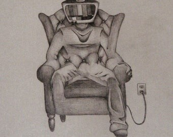 Drawing, Sketch, television, couch potato, vintage chair, tv, man, surrealism