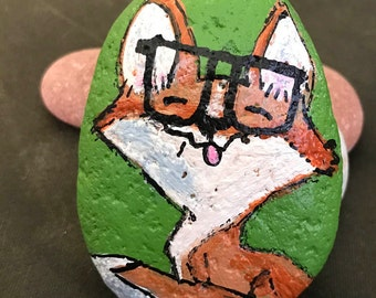 Vibrant Fox Wearing Oversized Glasses Painted Rock & Paperweight